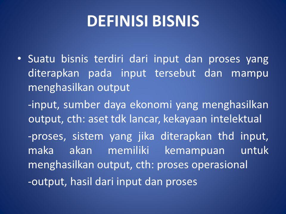 DEFINISI BISNIS Suatu bisnis terdiri dari input dan proses yang diterapkan pada input tersebut dan mampu menghasilkan output.