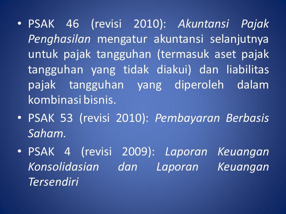 PSAK 46 (revisi 2010): Akuntansi Pajak Penghasilan mengatur akuntansi selanjutnya untuk pajak tangguhan (termasuk aset pajak tangguhan yang tidak diakui) dan liabilitas pajak tangguhan yang diperoleh dalam kombinasi bisnis.