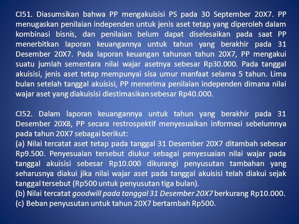 CI51. Diasumsikan bahwa PP mengakuisisi PS pada 30 September 20X7