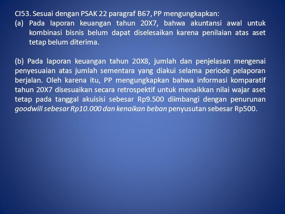 CI53. Sesuai dengan PSAK 22 paragraf B67, PP mengungkapkan: