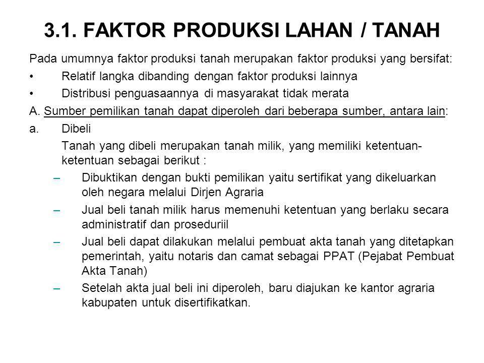 3.1. FAKTOR PRODUKSI LAHAN / TANAH