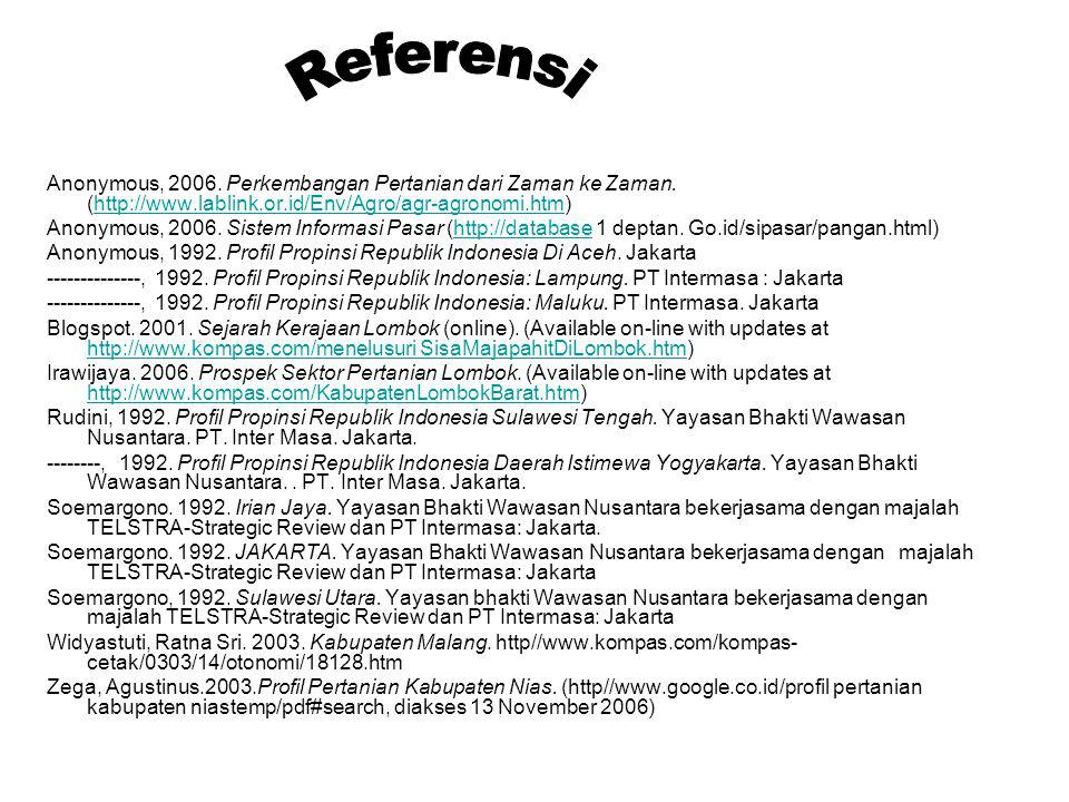 Referensi Anonymous, 2006. Perkembangan Pertanian dari Zaman ke Zaman. (http://www.lablink.or.id/Env/Agro/agr-agronomi.htm)