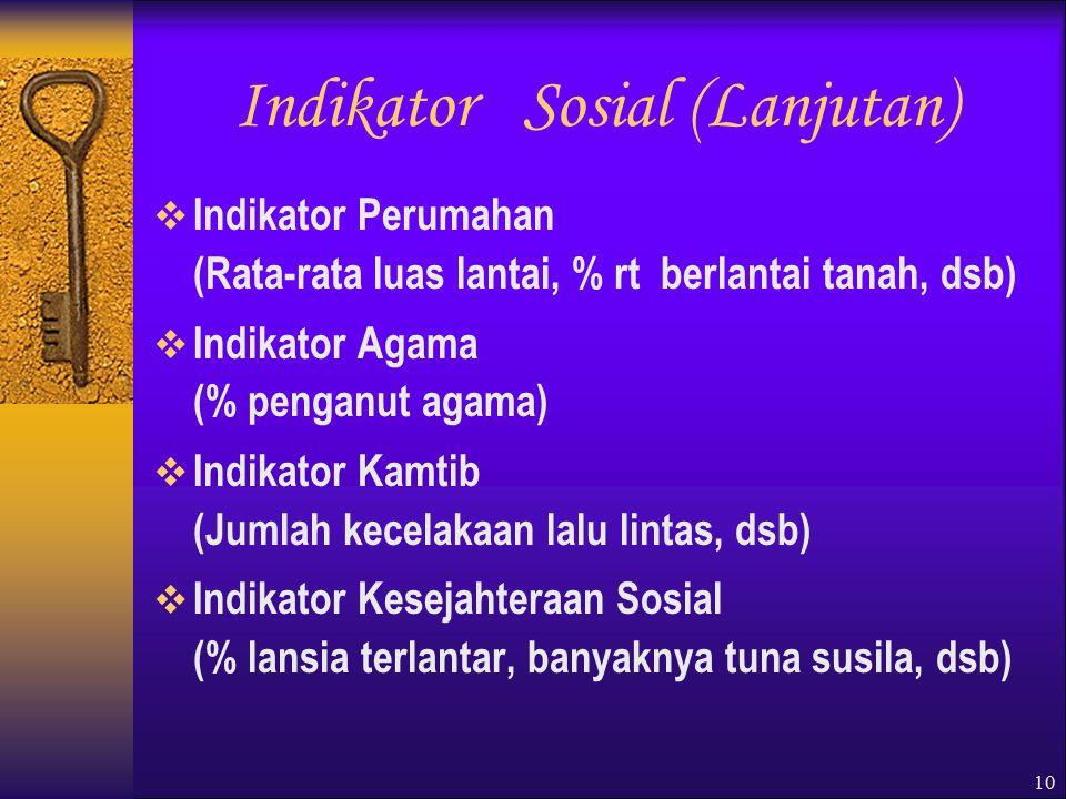 Indikator Sosial (Lanjutan)