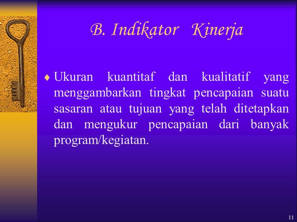 B. Indikator Kinerja