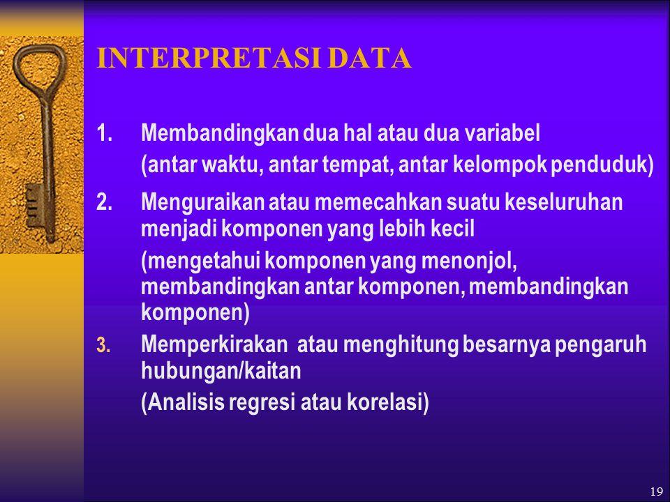 INTERPRETASI DATA 1. Membandingkan dua hal atau dua variabel