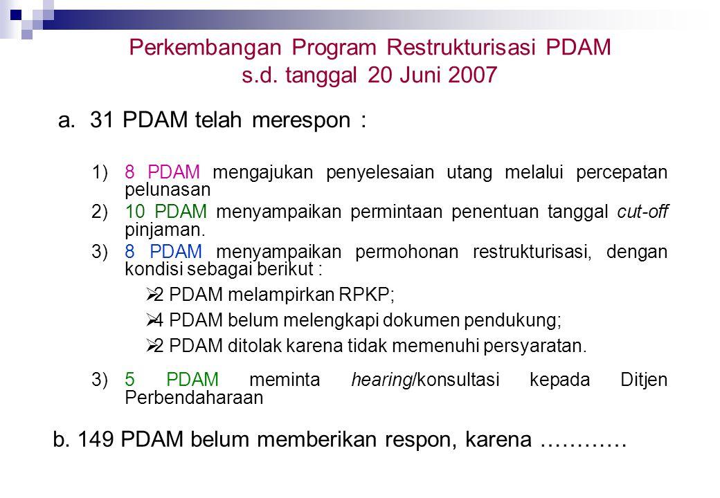 Perkembangan Program Restrukturisasi PDAM s.d. tanggal 20 Juni 2007