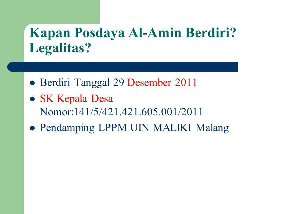 Kapan Posdaya Al-Amin Berdiri Legalitas