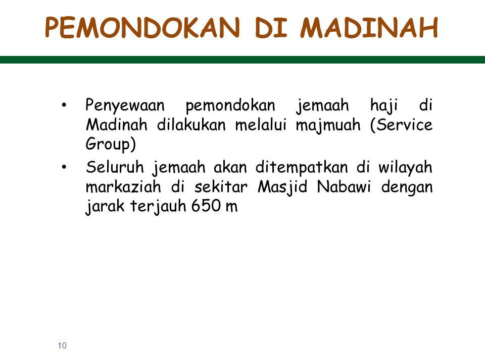 PEMONDOKAN DI MADINAH Penyewaan pemondokan jemaah haji di Madinah dilakukan melalui majmuah (Service Group)