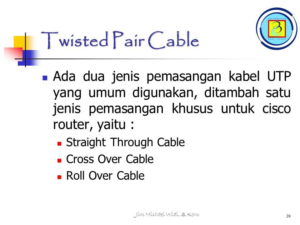 Twisted Pair Cable Ada dua jenis pemasangan kabel UTP yang umum digunakan, ditambah satu jenis pemasangan khusus untuk cisco router, yaitu :