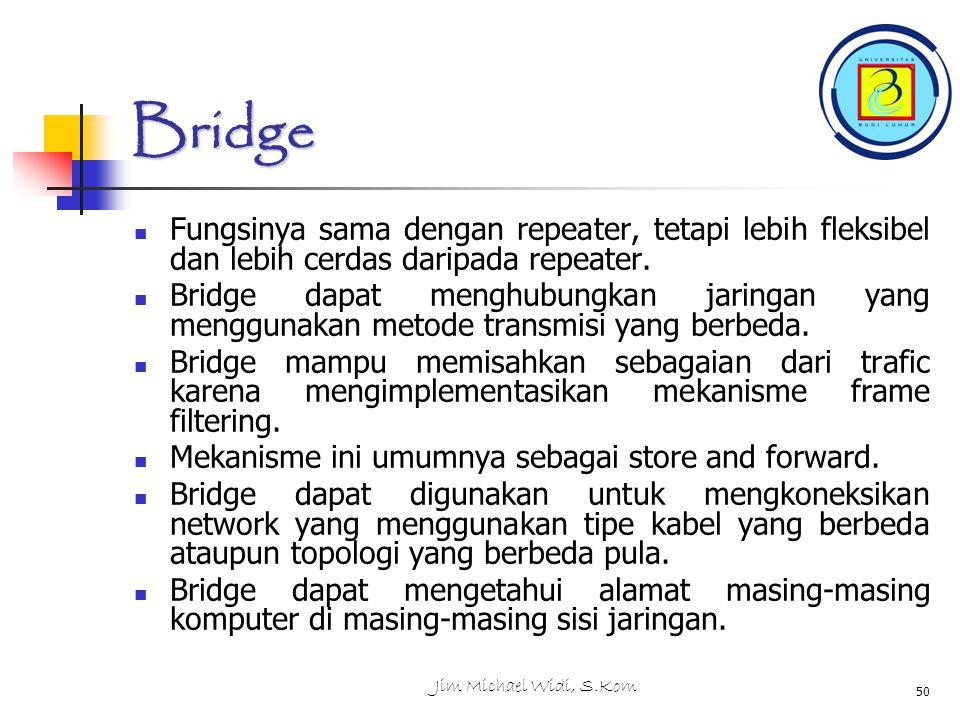 Bridge Fungsinya sama dengan repeater, tetapi lebih fleksibel dan lebih cerdas daripada repeater.