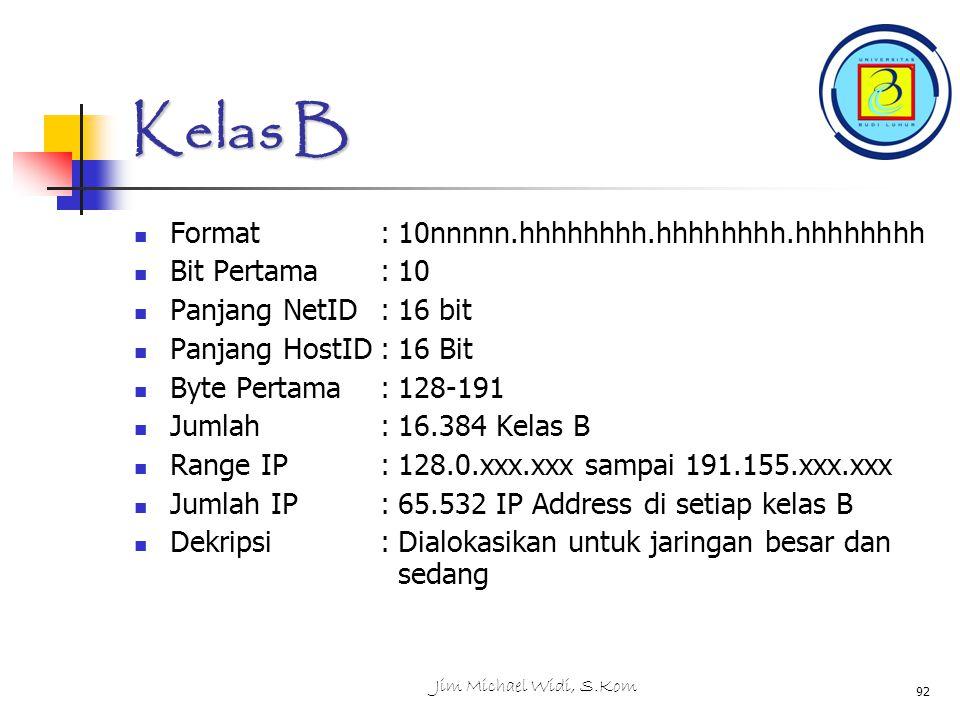 Kelas B Format : 10nnnnn.hhhhhhhh.hhhhhhhh.hhhhhhhh Bit Pertama : 10