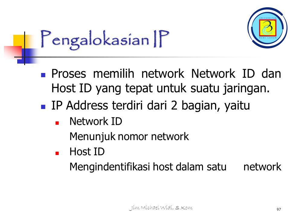 Pengalokasian IP Proses memilih network Network ID dan Host ID yang tepat untuk suatu jaringan. IP Address terdiri dari 2 bagian, yaitu.