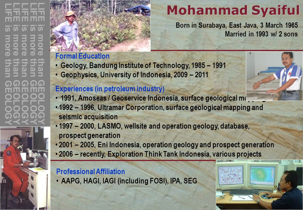 Mohammad Syaiful LIFE is more than GEOLOGY Formal Education