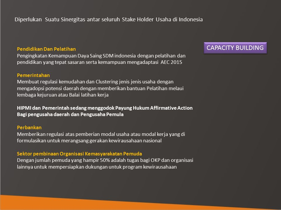 Diperlukan Suatu Sinergitas antar seluruh Stake Holder Usaha di Indonesia