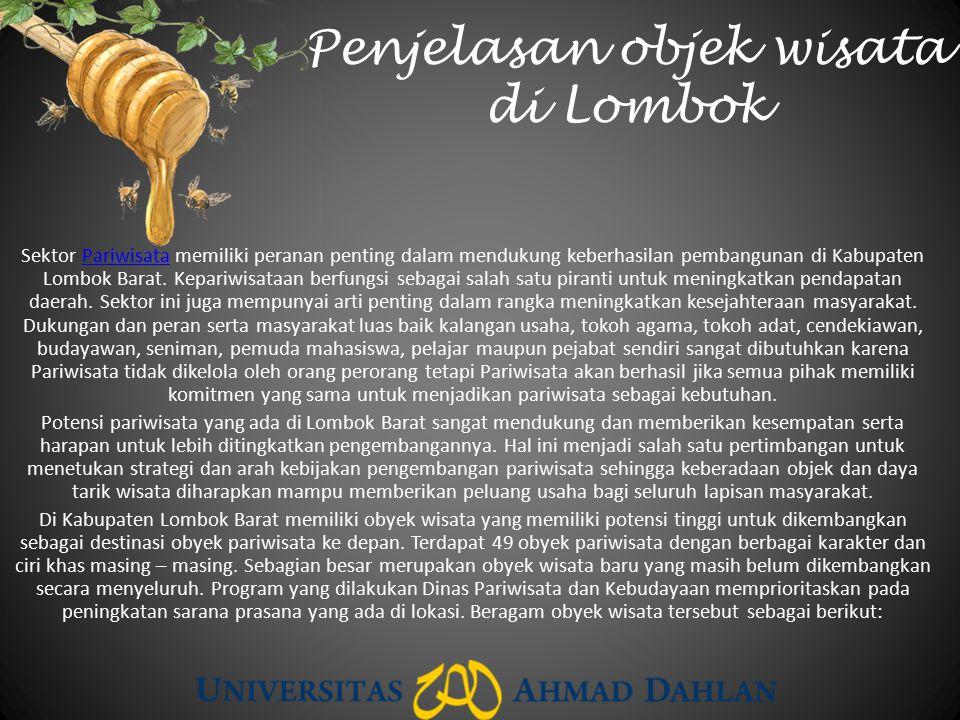 Penjelasan objek wisata di Lombok