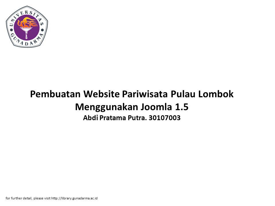 Pembuatan Website Pariwisata Pulau Lombok Menggunakan Joomla 1