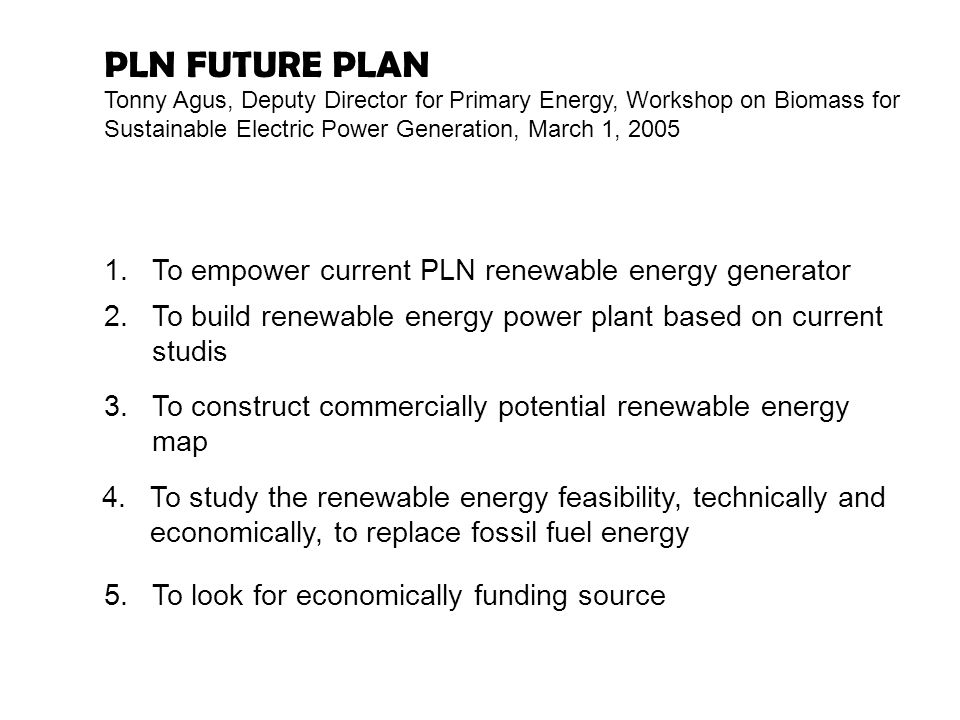 PLN FUTURE PLAN To empower current PLN renewable energy generator