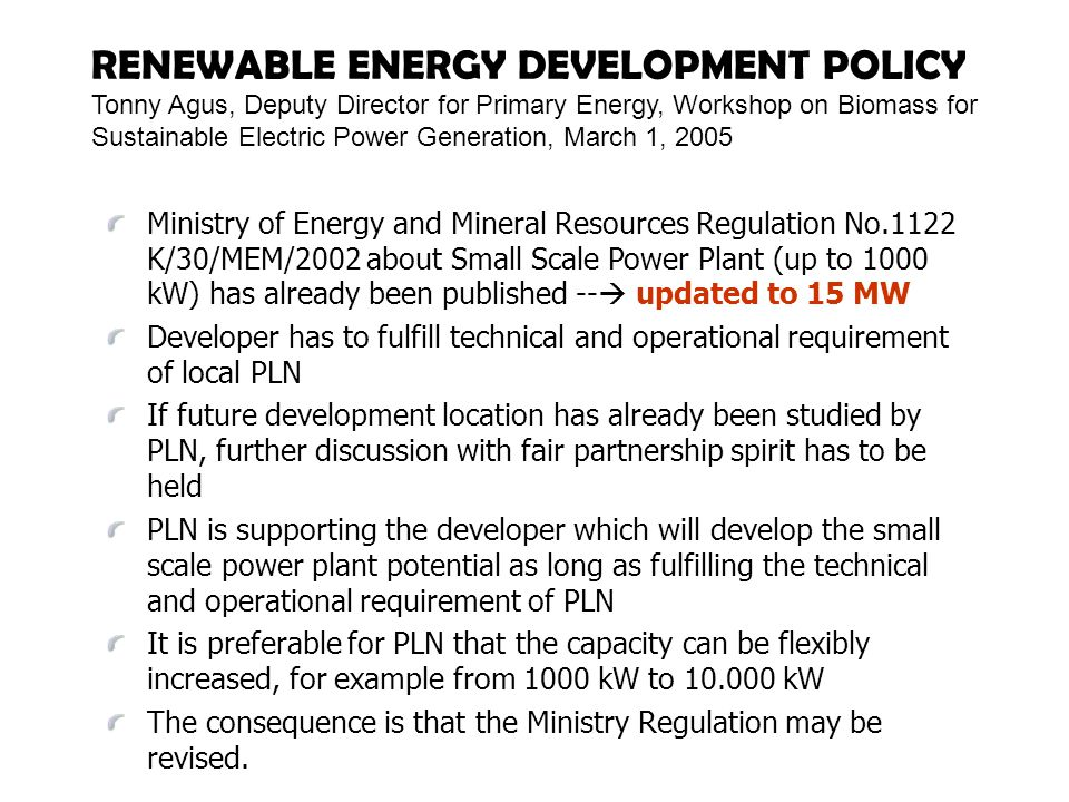 RENEWABLE ENERGY DEVELOPMENT POLICY