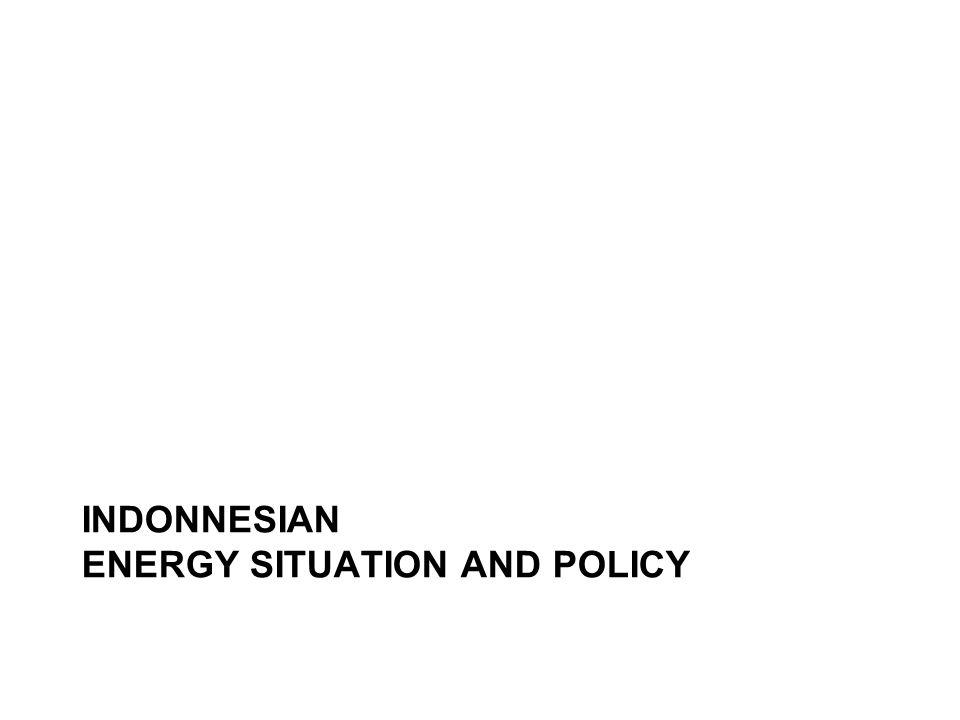 INDONNESIAN ENERGY SITUATION AND POLICY