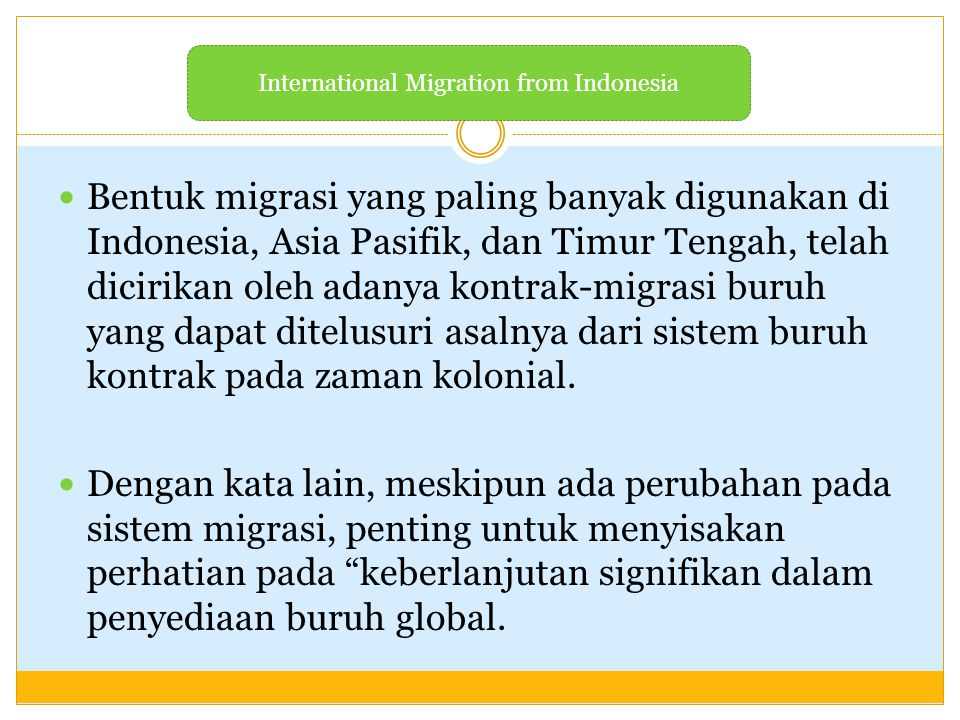 International Migration from Indonesia