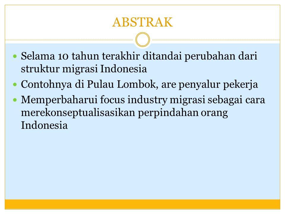 ABSTRAK Selama 10 tahun terakhir ditandai perubahan dari struktur migrasi Indonesia. Contohnya di Pulau Lombok, are penyalur pekerja.