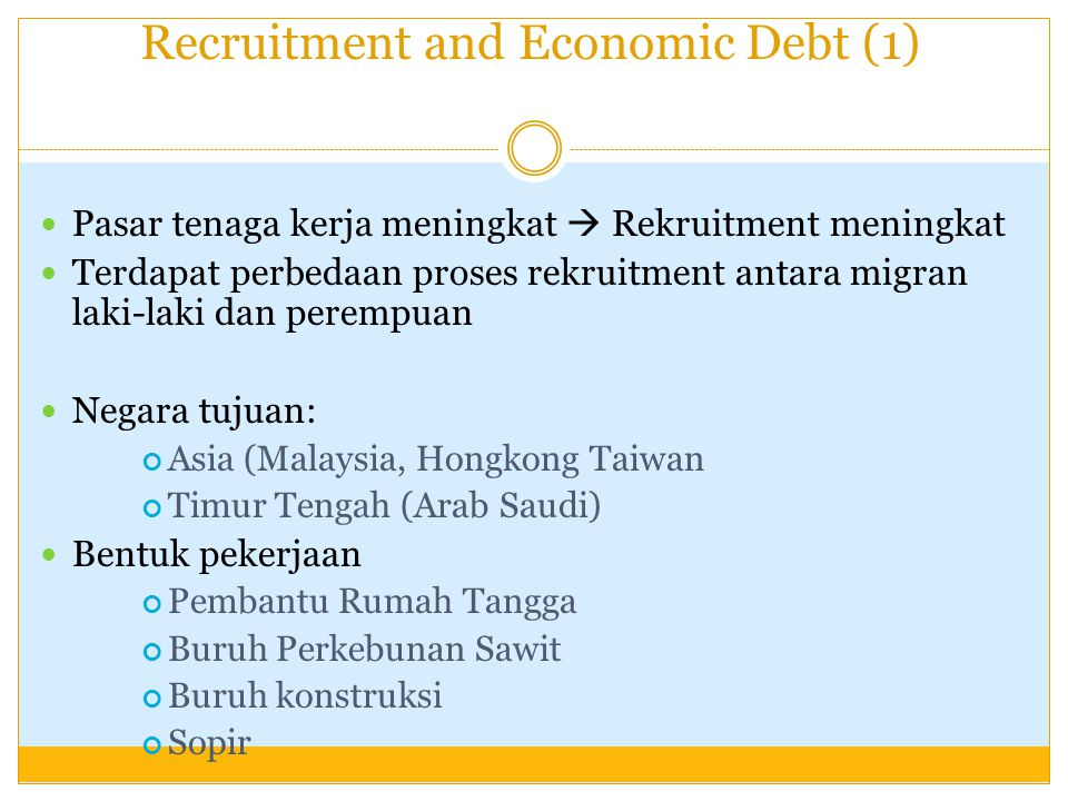 Recruitment and Economic Debt (1)