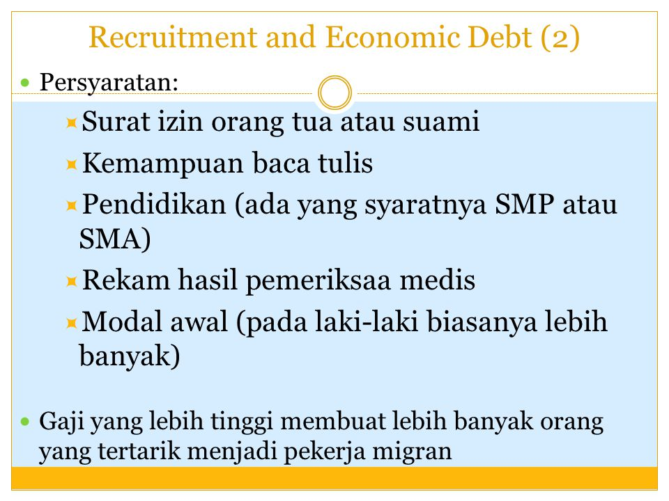 Recruitment and Economic Debt (2)