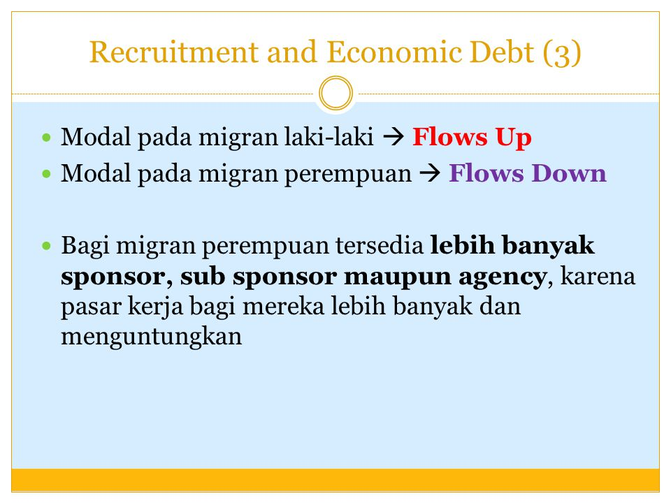 Recruitment and Economic Debt (3)