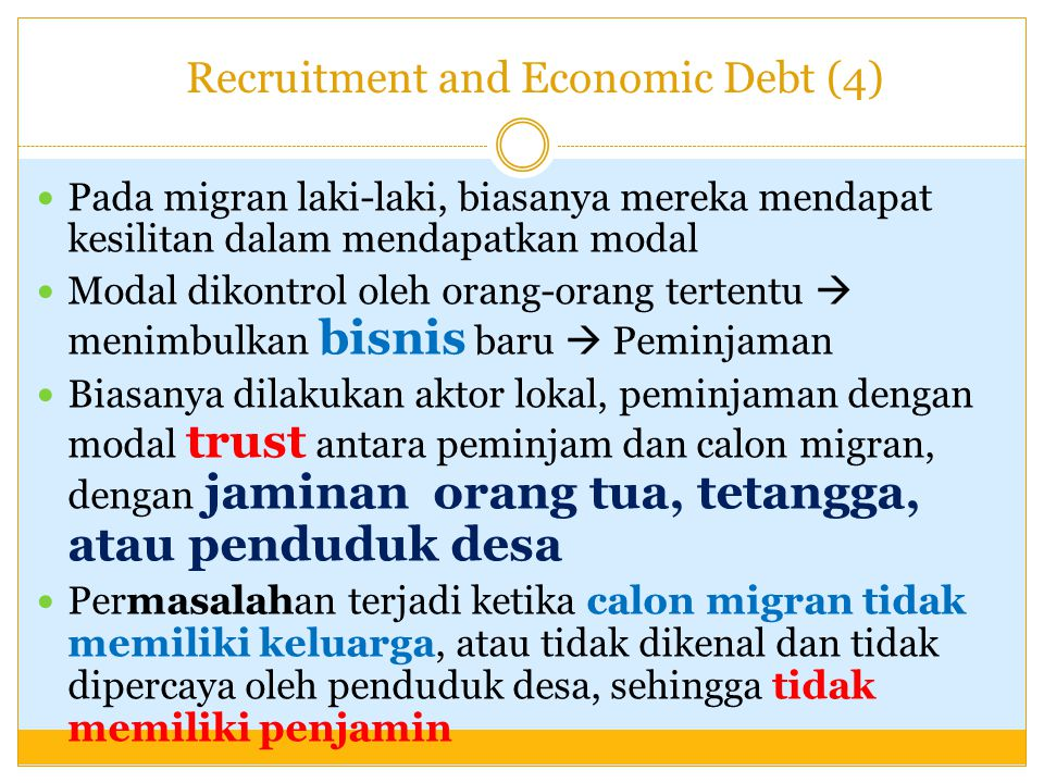 Recruitment and Economic Debt (4)