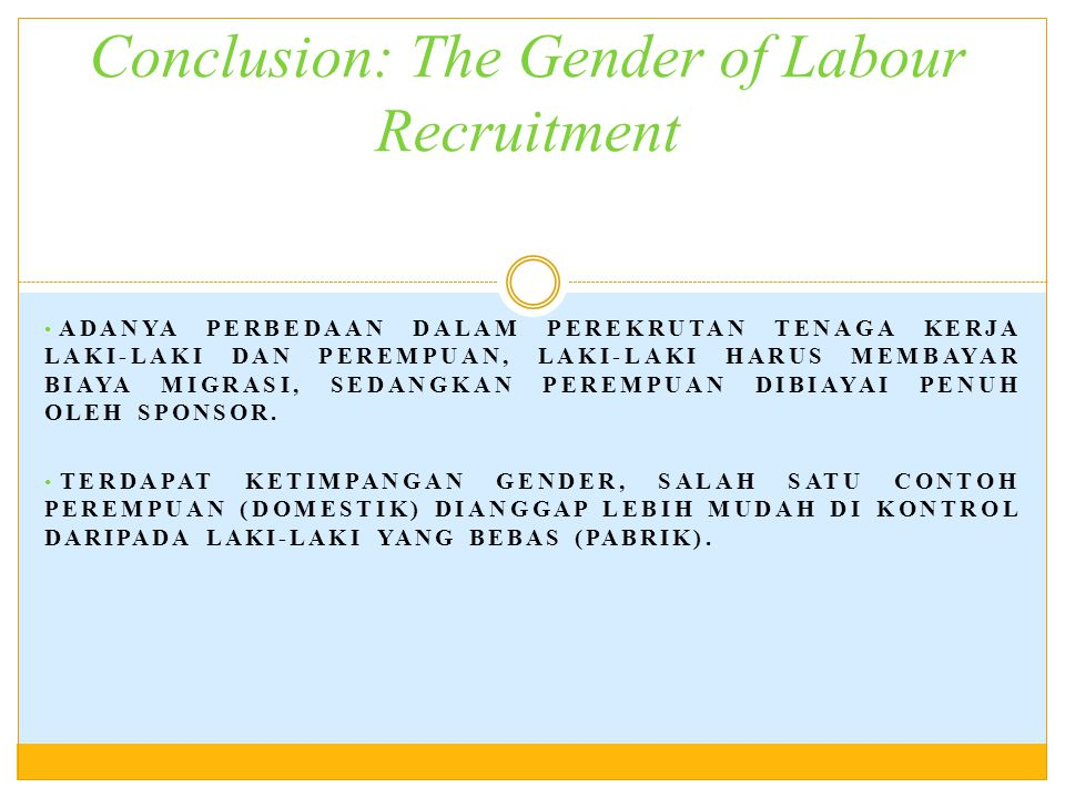 Conclusion: The Gender of Labour Recruitment