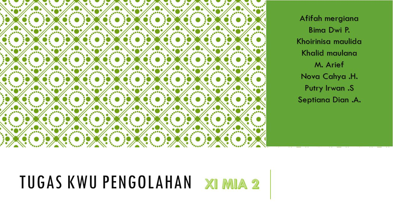 Tugas kwu pengolahan XI MIA 2 Afifah mergiana Bima Dwi P.
