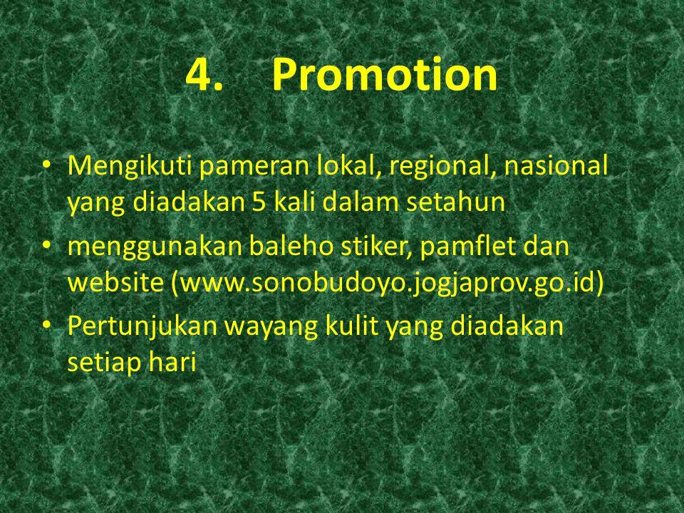 Promotion Mengikuti pameran lokal, regional, nasional yang diadakan 5 kali dalam setahun.