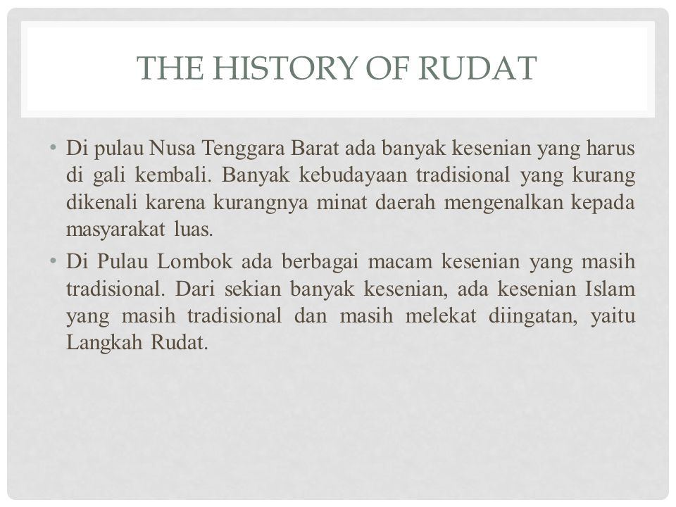 THE HISTORY OF RUDAT