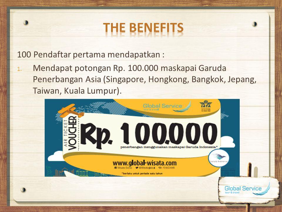THE BENEFITS 100 Pendaftar pertama mendapatkan :
