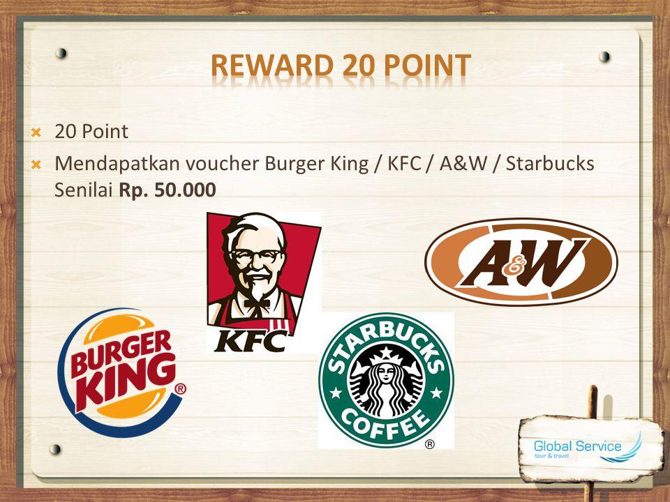 Reward 20 Point 20 Point Mendapatkan voucher Burger King / KFC / A&W / Starbucks Senilai Rp. 50.000
