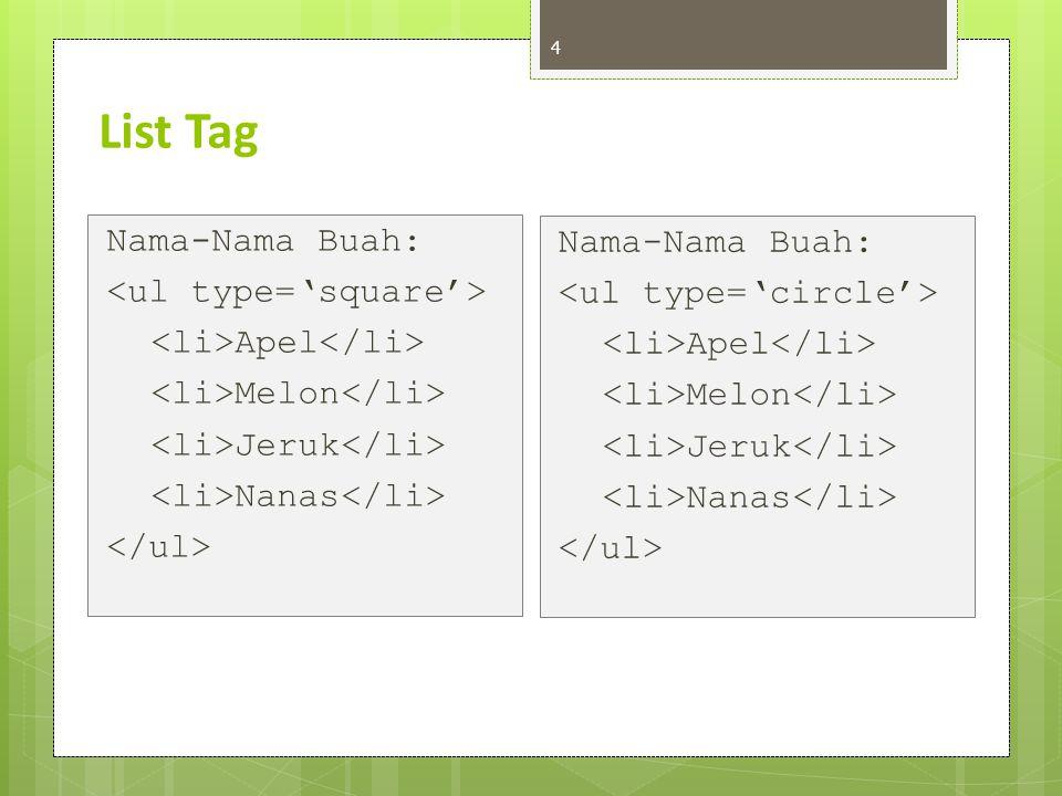 List Tag Nama-Nama Buah: Nama-Nama Buah: <ul type='square'>