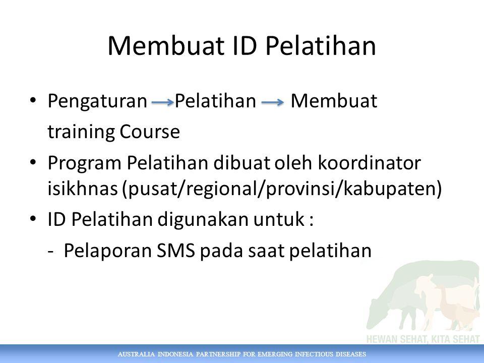 Membuat ID Pelatihan Pengaturan Pelatihan Membuat training Course