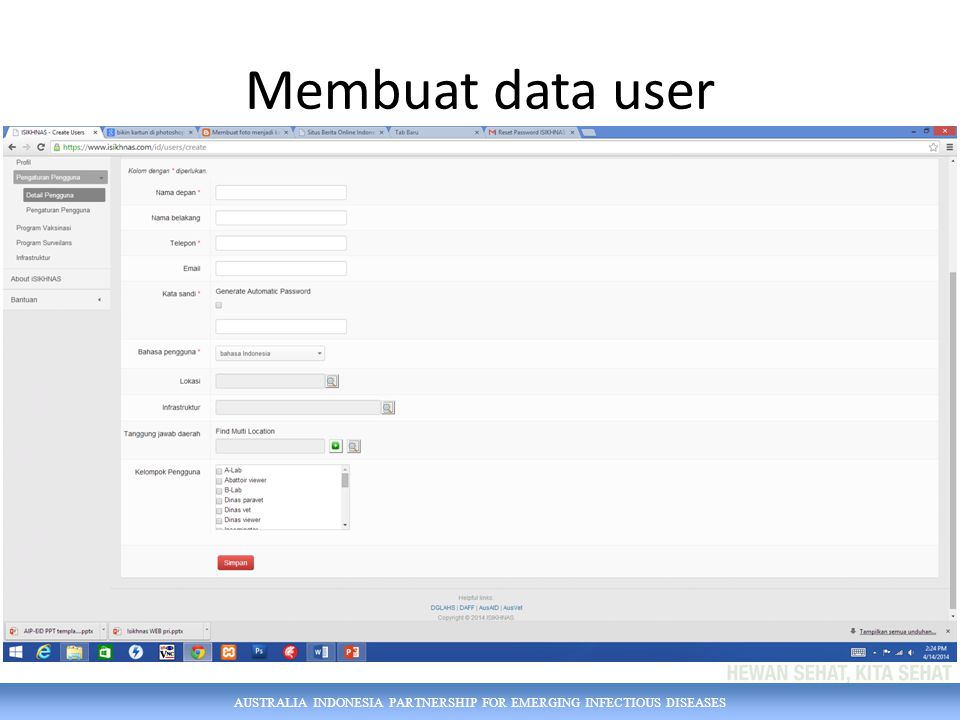Membuat data user