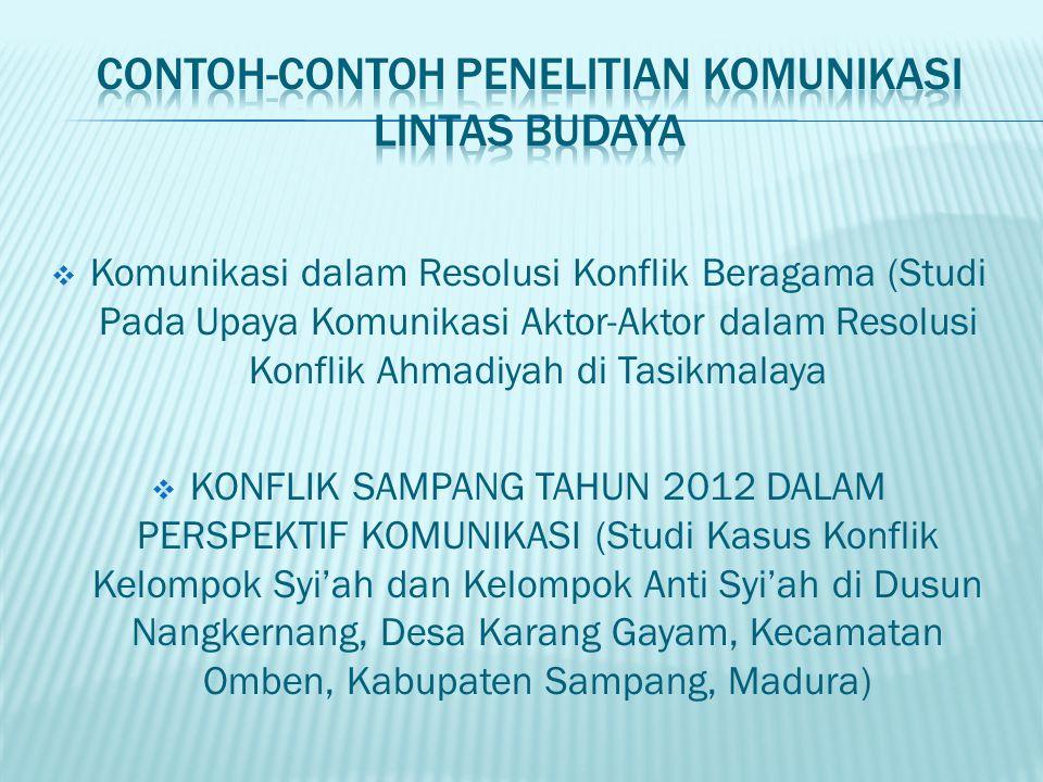 CONTOH-CONTOH PENELITIAN KOMUNIKASI LINTAS BUDAYA