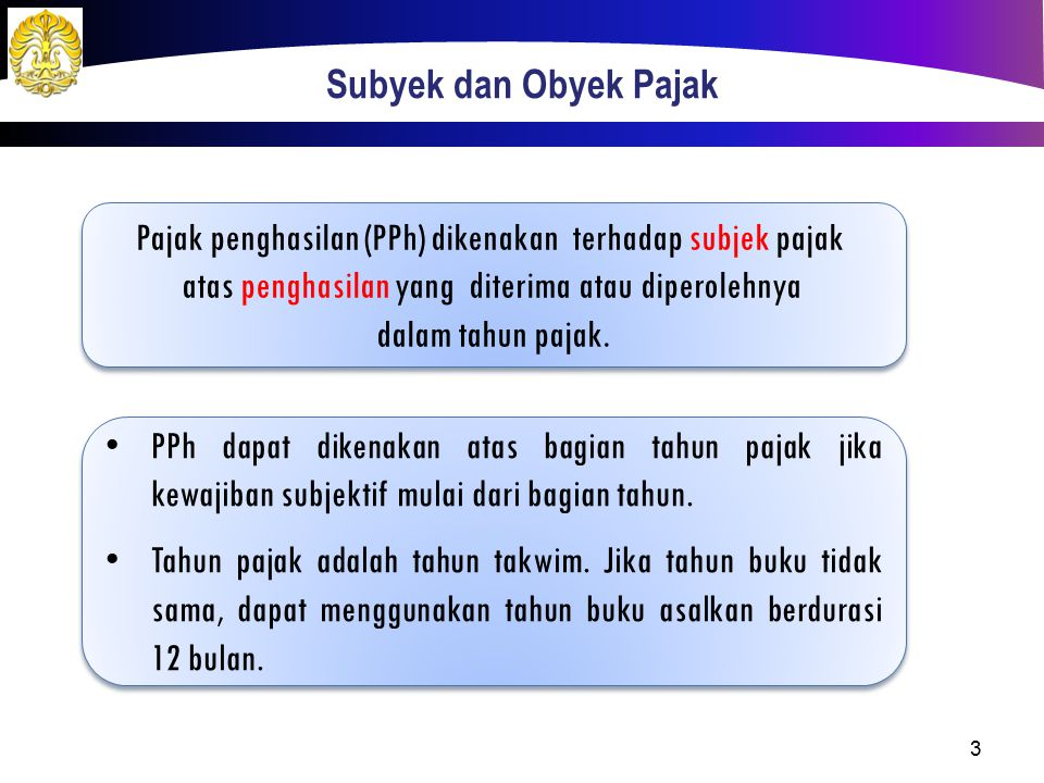 Pajak penghasilan (PPh) dikenakan terhadap subjek pajak