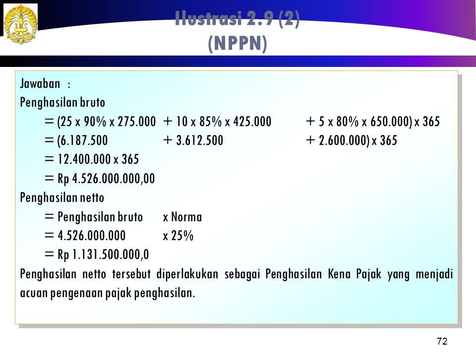 Ilustrasi 2.9 (2) (NPPN) Jawaban : Penghasilan bruto