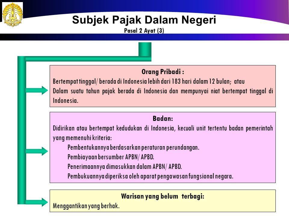 Subjek Pajak Dalam Negeri Warisan yang belum terbagi: