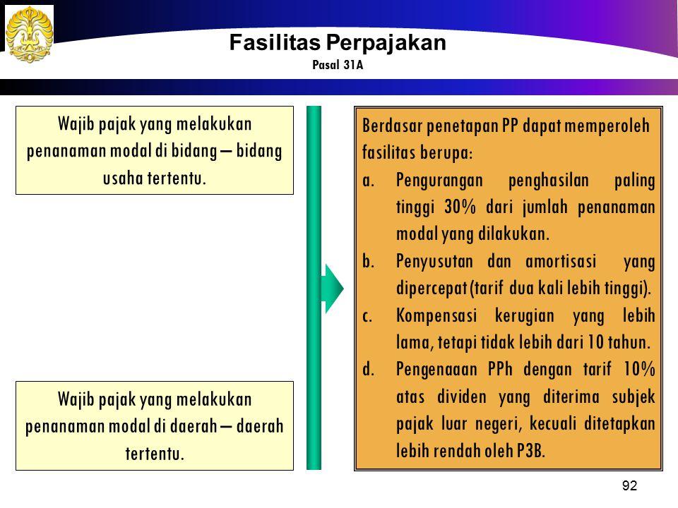 Berdasar penetapan PP dapat memperoleh fasilitas berupa: