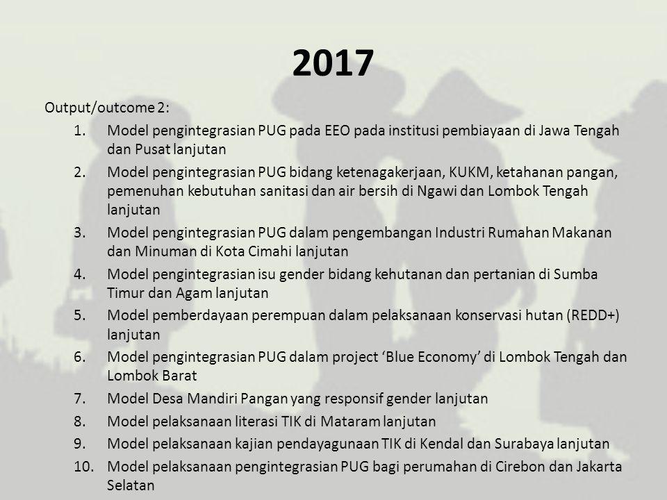 2017 Output/outcome 2: Model pengintegrasian PUG pada EEO pada institusi pembiayaan di Jawa Tengah dan Pusat lanjutan.