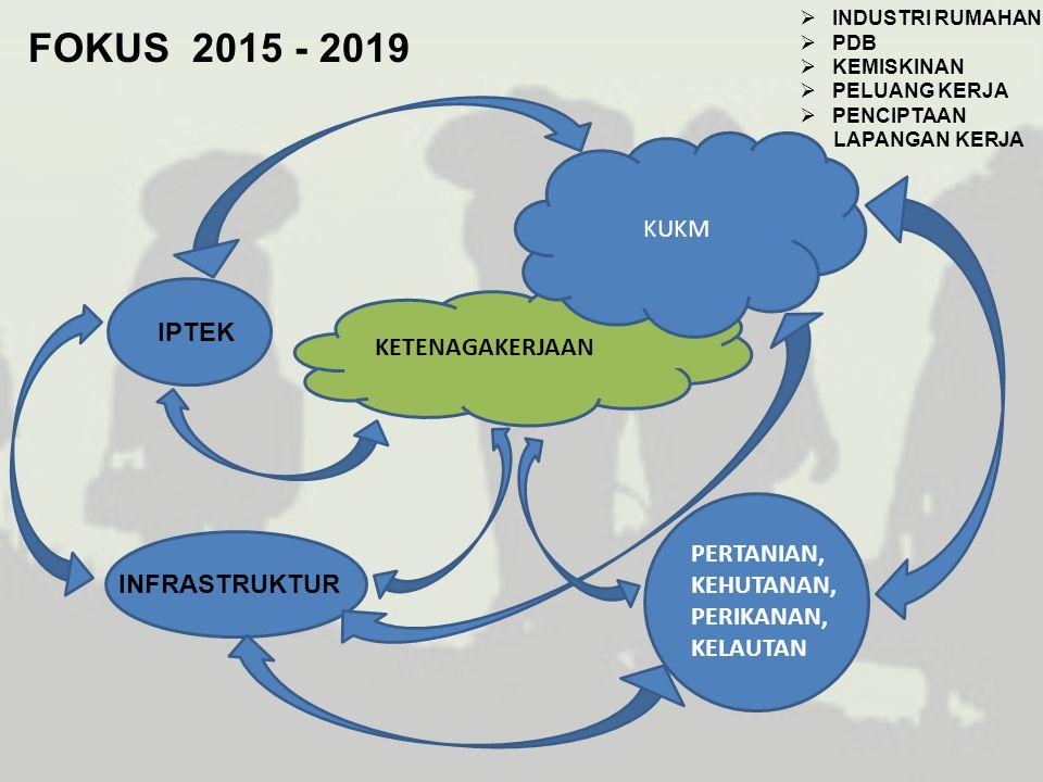 FOKUS 2015 - 2019 KUKM IPTEK KETENAGAKERJAAN INFRASTRUKTUR PERTANIAN,