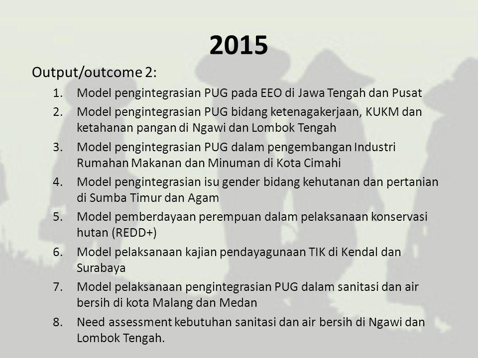 2015 Output/outcome 2: Model pengintegrasian PUG pada EEO di Jawa Tengah dan Pusat.