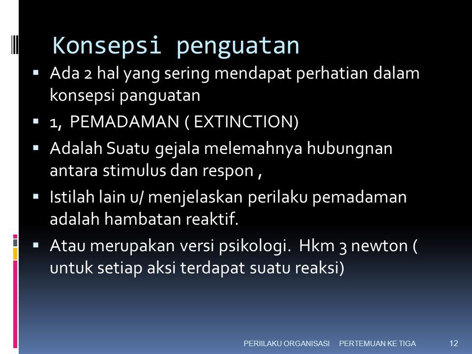 Konsepsi penguatan Ada 2 hal yang sering mendapat perhatian dalam konsepsi panguatan. 1, PEMADAMAN ( EXTINCTION)