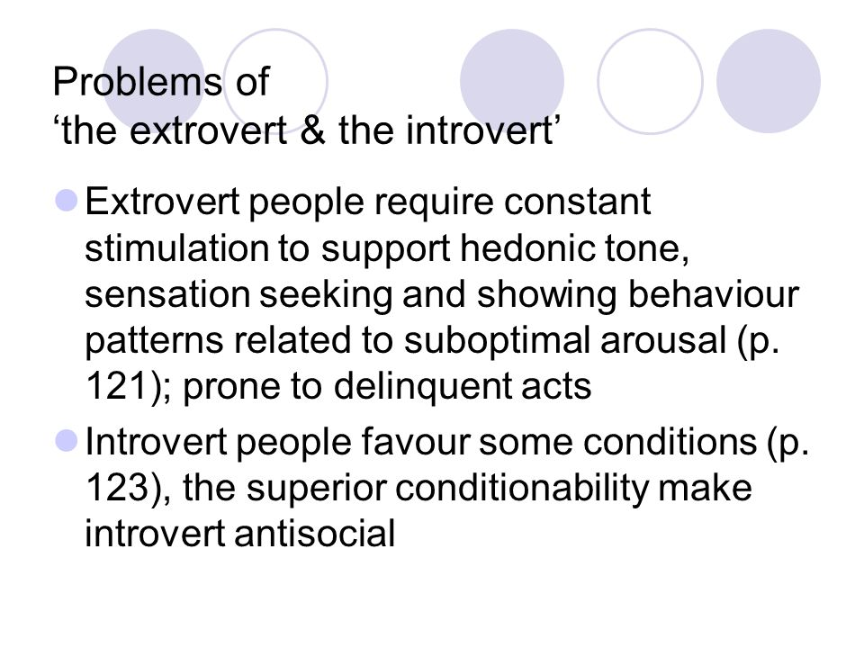 Problems of 'the extrovert & the introvert'