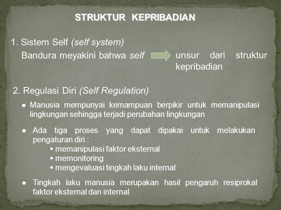 1. Sistem Self (self system) Bandura meyakini bahwa self