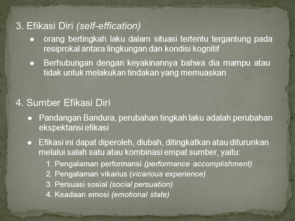 3. Efikasi Diri (self-effication)